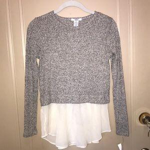 Grey sweater with white chiffon bottom
